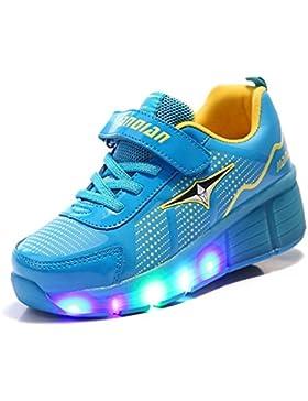 Mr. ANG - Zapatillas deportivas unisex con luz LED y patines en la suela, ajustables, azul, 5 UK(label 38)