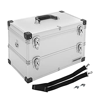 anndora®Werkzeugkoffer Silber 22 Liter Angelkoffer Etagenkoffer 2 Etagen