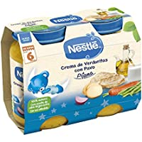 Nestlé Purés Pijama, Tarrito de puré de verduras y carne, variedad Crema de verduritas con Pavo - Para bebés a partir de 6 meses - Paquete de 6x2 Tarritos de 200g