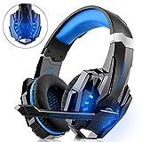 WILLNORN Gaming-Headset für Xbox One, PS4, PC-Controller, Geräuschunterdrückung, Over-Ear-Kopfhörer mit Mikrofon, LED-Licht, Bass-Surround, für Laptop, Mac, Nintendo Switch Spiele blau