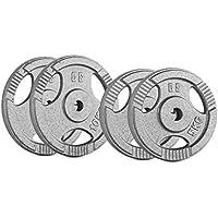 CAPITAL SPORTS IP3H 30 kg Set Juego de discos de pesas 2 x 5 kg + 2 x 10 kg 30 m (Ejercicio peso fitness, 3 ranuras agarre, apto entrenamiento sin barra olimpica)