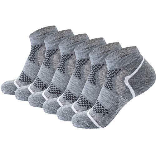 AIRSTROLL Unisex-Erwachsener Low Cut Socken No Show Cushioned Leistung Sportlich Socken 6er Pack Large / X-Large Grau -