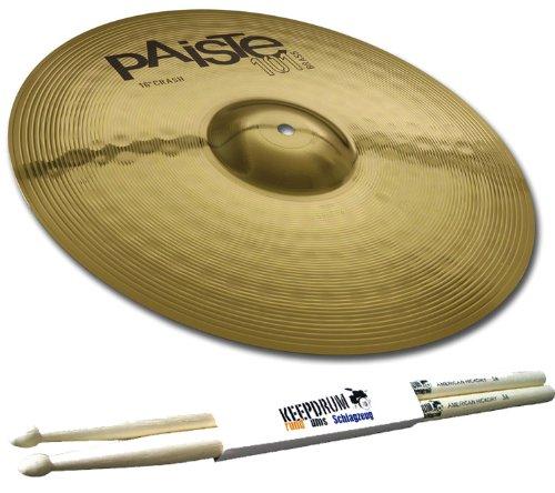 """PAISTE 101 Brass 18\"""" Crash Ride Becken + 5A Keepdrum Drumsticks GRATIS!"""