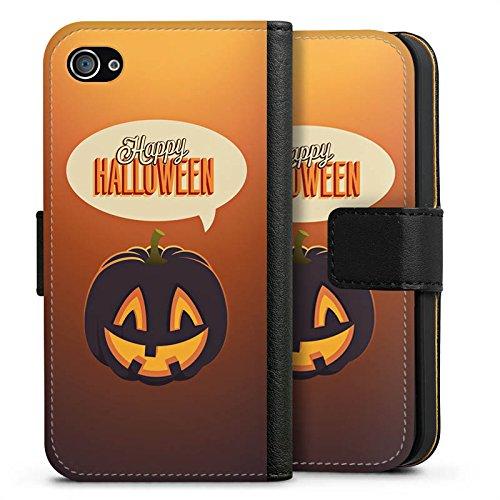 Apple iPhone X Silikon Hülle Case Schutzhülle Halloween Kürbis Herbst Sideflip Tasche schwarz