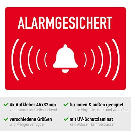 Aufkleber alarmgesichert, Hinweisschild Alarmanlage, auf Vinylfolie für innen und außen, für Auto, Haustür oder Fenster (4 Stück, 46x32mm)
