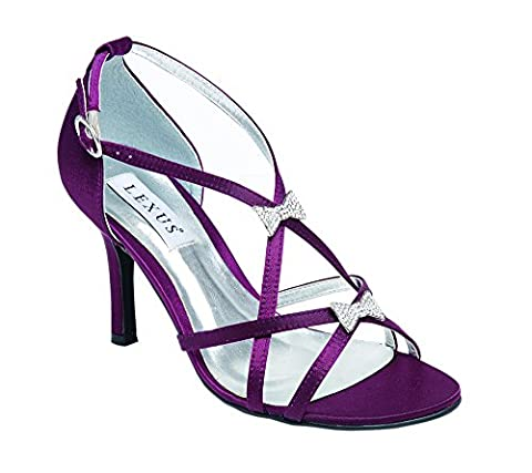 Ladies Lexus High Heel Strap Sandal With Two 'Bow' Diamante Trims in Plum.