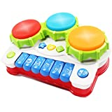 AMOSTING Baby Musical Toys Piano Drum Instruments Early Education Games and Pre-school Learning Keyboard Drum Set Toddler Gifts for Girls Boys