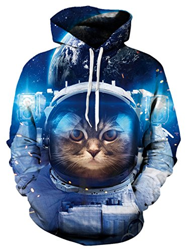 Spreadhoodie HD 3D Jumper Hoodies Herren Damen Funky Cat in Space Printed Leichte Pullover Mit Kapuze Sweatshirt für Casual Holiday Blau XL
