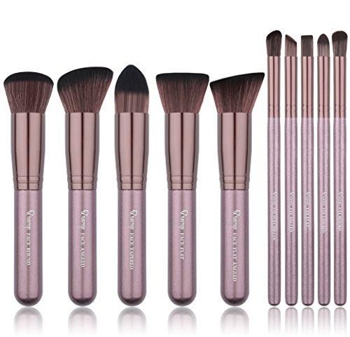Qivange synthétique pinceaux de maquillage, Ensemble de pinceau de maquillage Kabuki Fond de Teint Blush Estompeur Ombre à paupières Correcteur Poudre bronzante Poudre Pinceau à maquillage kit (10 Café Or)
