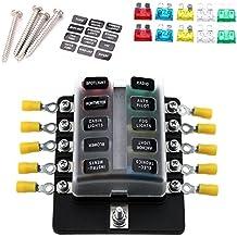 kkmoon 10 Vías Blade Fuse Box Soporte bloques Portafusibles con indicador LED rojo 10pcs fusibles 10pcs