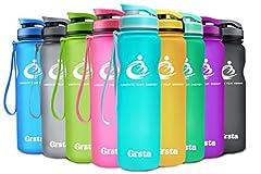 Idea Regalo - Grsta bottiglia d'acqua sportiva - 32oz-1000ml borraccia sportiva, a prova di perdite, riutilizzabile senza BPA tritan plastica detox bottiglie acqua per palestra, sport, yoga, la corsa, viaggio borraccia con filtro per frutta e spingere il coperchio (Azzurro)