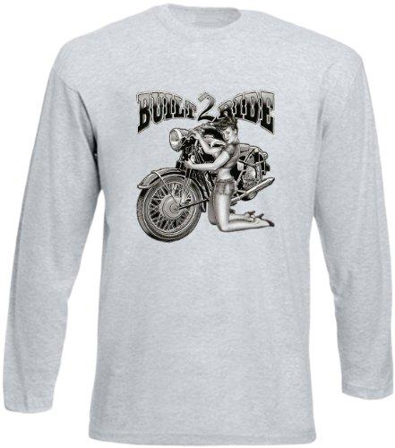 Biker Hemd - Built to Ride - Langarm-Shirt für echte Kerle Grau