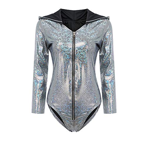 FIRSS-BH Damen Body Pailletten Bodysuit Langarm Elegant Strampler V-Ausschnitt Jumpsuit Overall Basic Playsuit Casual Bluse Sommer Top Unterziehshirt Bodycon Reizwäsche Outfit L - 4