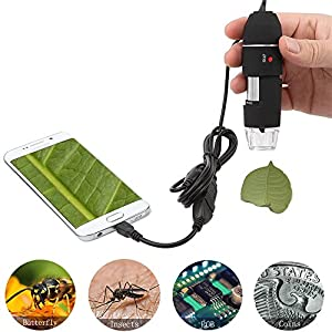 Jiusion Original 40-1000X USB Digital Microscope with Portable Carrying Case, Magnification Stereo Endoscope Camera 8 LEDs Metal Base for Micro USB Tpye C Android, Windows Mac Linux Chrome