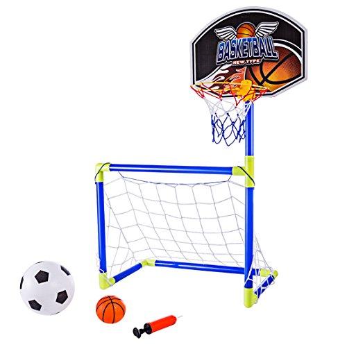 TETAKE But de Foot Enfant 2 in 1 Transportable Cage de Foot et Panier de Basket sur Pied pour Enfant avec Ballon et Pompe, 90 cm