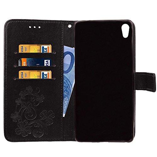 EKINHUI Case Cover Double Magnetic Back Sucktion Retro Style PU Leder Flip Stand Case mit Kickstand und Wallet Beutel Funktion für Sony Xperia C6 ( Color : Rose ) Black