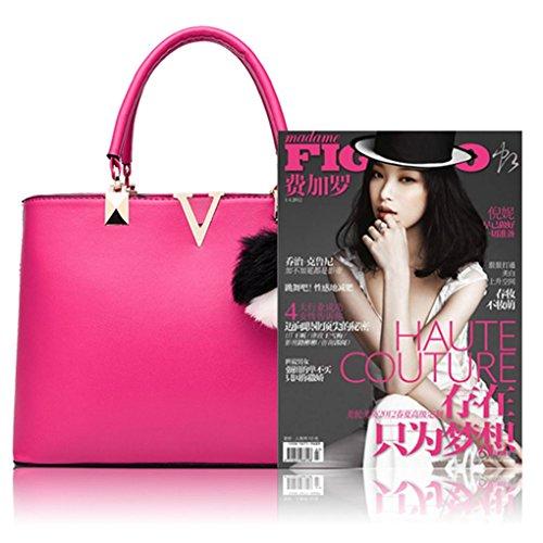 LaoZan Donne Pure Colour Grande Capacità Borsa A Tracolla Con Gli Accessori Rosso Rose