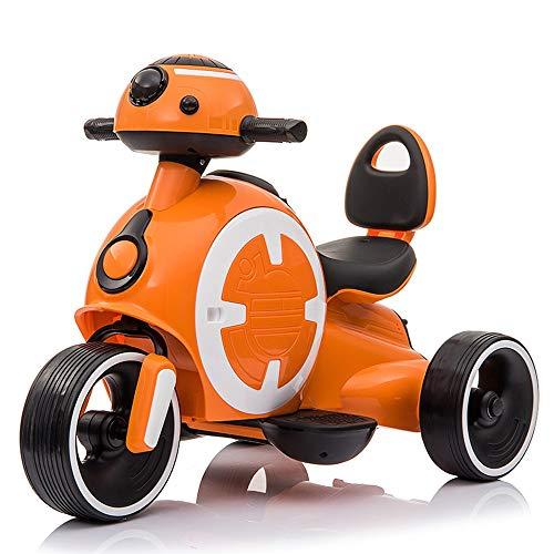 MEILA Kind elektrische Motorrad Dreirad Kinder spielzeugauto Baby Batterie Auto Lade sitzen 2-7 Jahre alt Junge Science Fiction cool elektroroller (Color : Orange)