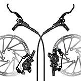 AFTERPARTZ NV-8 Hydraulische Fahrrad Scheibenbremse Satz MTB 160mm Scheibe, Sattel, Belag, Hebel und Kabel, Schwarz