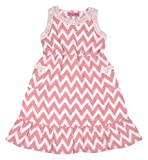 Always Kids Girls' Regular Fit Dress (Lexi Dress Pink Chevron 2Y-$P, Pink, 4-5 Years)