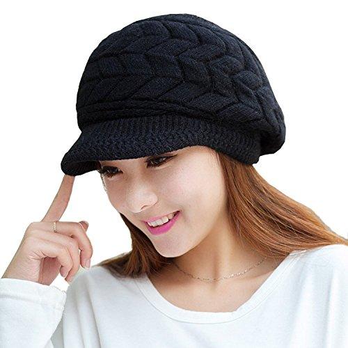 Womens berretto a maglia, caldo inverno cappelli per donna, ragazza Lana da sci con visiera Black Large