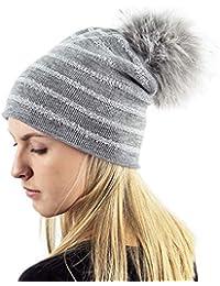 d58040049e1 TOSKATOK Ladies Womens Fine Knit Glitter Stripe Winter Beanie Bobble Hat  with Large Faux Fur Pom