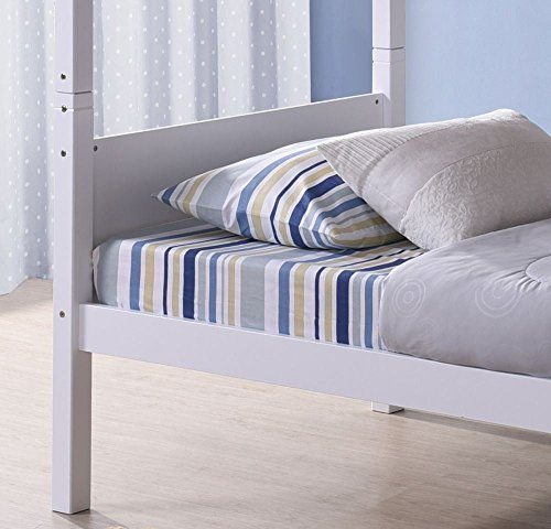 Happy Beds Bedford Bunk Bed White Wooden 2 x Spring Mattresses 3' Single 90 x 190 cm