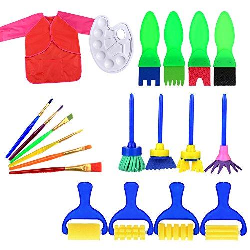 Craft Pinsel-Set, tmalltide Mini Schwamm Malerei Pinsel Stempel Blume malen Pinsel Set mit Palette und Schürze Malerei Werkzeug für Kinder Early Learning Set with Red Apron (Blume Pinsel)
