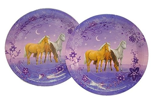 6 tlg. Set Pappteller Traumpferdchen Mädchen Teller Essen Kinder Kinderparty Pferd rosa Pferde lila