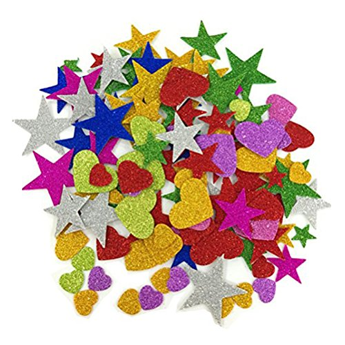 WINOMO 150stk Aufkleber Schaum Stern Herz Glitter Wandtattoos für Startseite Zimmerwand Decke DIY (zufällige Farben und Muster)