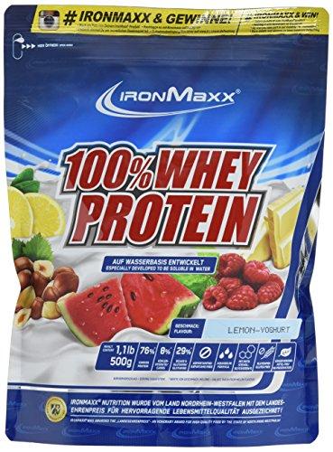 IronMaxx 100% Whey Protein – Whey Eiweißshake auf Wasserbasis – Proteinpulver mit Lemon-Joghurt Geschmack – 1 x 500 g Beutel