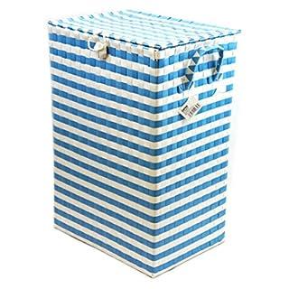 ARPAN Washing Laundry Plastic bin Hamper Storage Basket Blue-White Nautical Design 44 litres Capacity Light Weight, White & Blue, Medium