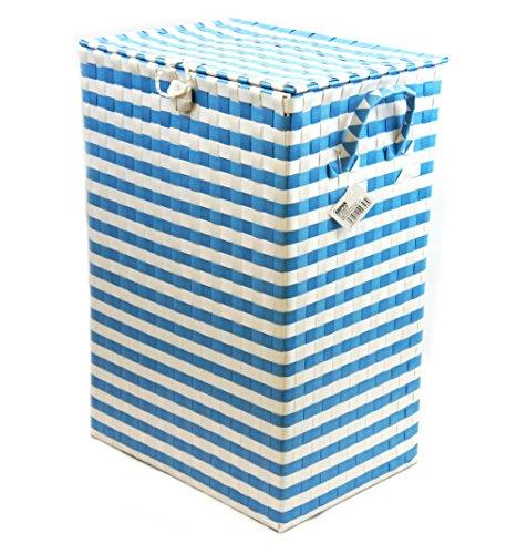 Arpan, cesto portaoggetti in stoffa di poliestere con coperchio e manici in polipropilene, uso in bagni, camere da letto e spogliatoi, l35 x p25 x h50 cm circa,blu e bianco.