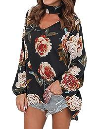 Chemisier en mousseline de soie élégante de femmes - hibote imprimé floral avec Choker Chemise à manches longues col V blouse ample Tunique