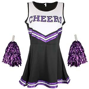 CHEERLEADER Kostüm Uniform High School Musical Kostüm mit Pom Poms 6Farben–5Größen zur Auswahl Gr. 34, Black & Purple