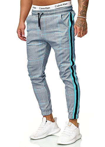 OneRedox Herren | Jogginghose | Trainingshose | Sport Fitness | Gym | Training | Slim Fit | Sweatpants Streifen | Jogging-Hose | Stripe Pants | Modell 1226 Grau Türkis M