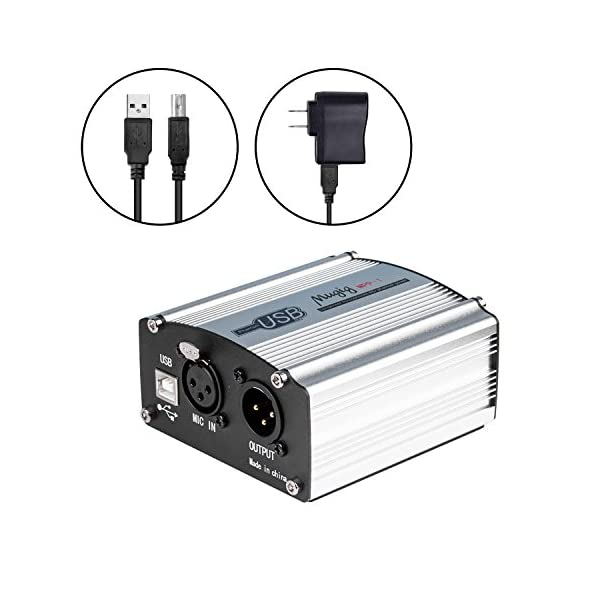 Mugig Alimentatore Phantom 48V 1-Channel con Ricarica Cavo USB, adatto per cavo microfono da 3 pin, perfetto per microfono a condensatore