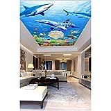 Pbldb Unterwasserwelt Marine Individuelle Tapete 3D-Wandbild Vliestapete 3D-Meerestapete Meerestapete Delfine Und Haie-200X140Cm