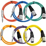 "Seismic Audio Seismic 6 Pack Color 1/4"" TRS XLR Male 3' Patch Cables Multi-Colors - SATRXL-M3BGORYP"