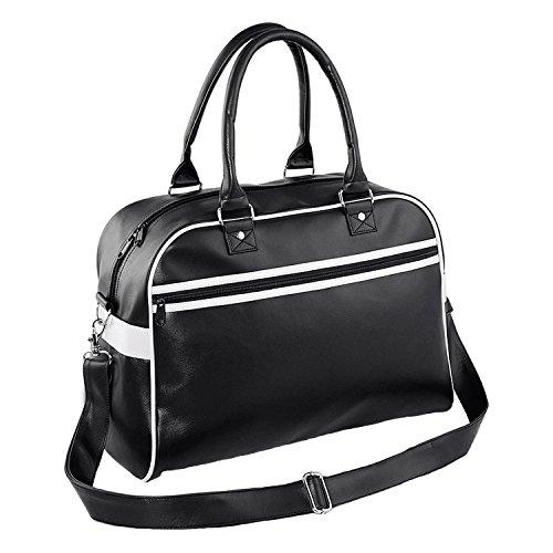 BagBase Ursprüngliche Retro Bowling Bag - Black/ White (Tasche Mit Shirt Klappe)