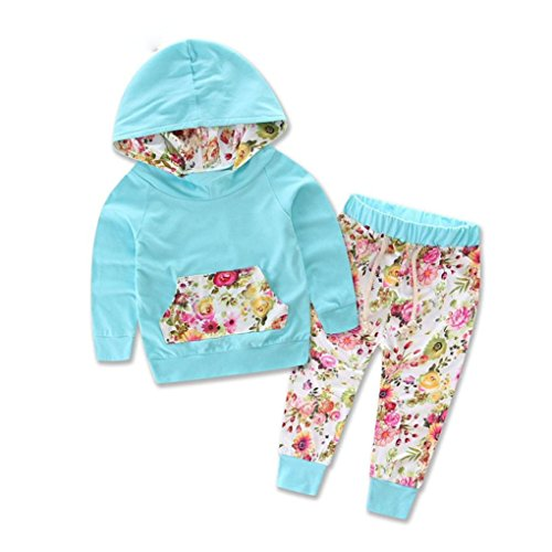 Culater® Il bambino scherza manica lunga con stampa floreale Top Pants Outfits (3 Pezzi Bambino Outfit)