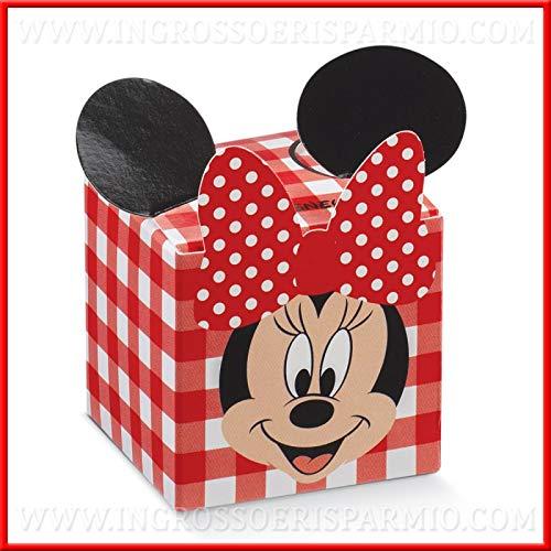 Ingrosso e risparmio 12 portaconfetti a scatolina in cartoncino a quadri rossi con minnie, firmate disney, bomboniere, confettate originali compleanno femmina (senza confezionamento)