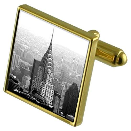 chrysler-building-di-new-york-gold-tone-gemelli-in-una-custodia