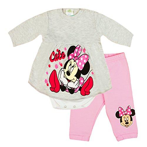 Mädchen Baby-Set 2-teilig von Minnie Mouse in GRÖSSE 56, 62, 68, 74, 80 rosa oder grau im LAGEN-LOOK, Baby-Schlafanzug mit Druck-Knöpfen, Spiel-Anzug mit Baby-Body und langer Hose Color Grau, Size (Für Outfit Minnie Kleinkinder Maus)