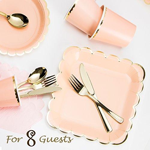 Luxcathy 8 Guest Served Pink und Gold Rim Bankette Einmalige Einweg-Papier Teller und Plastik Besteck - Die Platten Hellen Papier Gelben