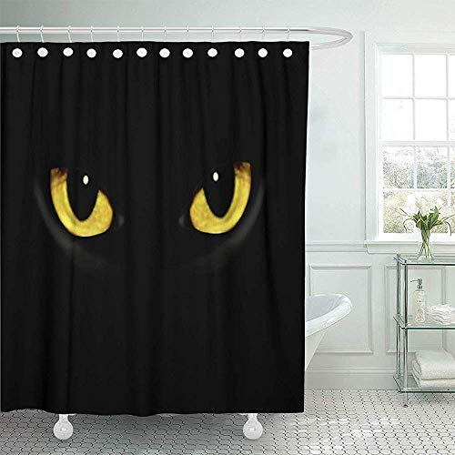 Bath Curtain, Fabric Shower Curtain with Hooks Yellow Panther Cat Eyes in Dark Night Green Black Animal Halloween Spooky Glow Wild Decorative Bathroom Treated to Resist Deterioration by ()