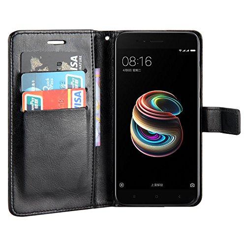 Payxuan Flip Funda de Cuero Billetera Con Ranuras de Tarjeta para Xiaomi Mi 5X ,Xiaomi Mi A1 5.5,Negro
