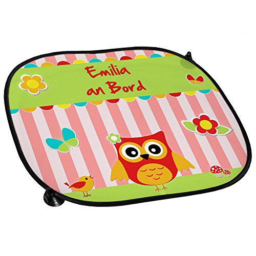 Auto-Sonnenschutz mit Namen Emilia und schönem Eulen-Motiv für Mädchen - Auto-Blendschutz - Sonnenblende - Sichtschutz
