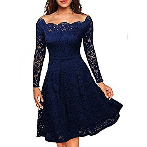 Dame Kleid Rock Elegant Feine Spitze Das Wort TräGerlosen Big Swing Middle in Den Rock Spandex, Hidden Blue, XL - Spitzen Rock Trägerlosen Brautkleid