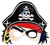 Das Kostümland Piraten Papiermaske mit Piratenhut mit Totenkopf und Augenklappe – für Mottoparty, Kindergeburtstag, Karneval, Fasching und ALS Fotorequisite